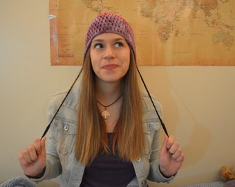 Multicolored string beanie