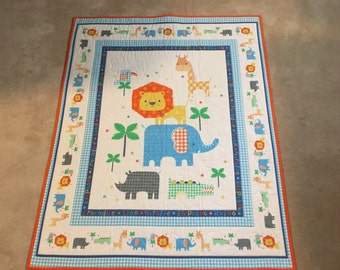 On Safari children's quilt 36x44