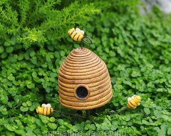 Yellow Bee Skep Pick for Miniature Garden, Fairy Garden