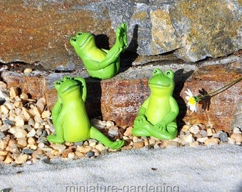 Yoga Frogs, 3 Piece Set, Options for Miniature Garden, Fairy Garden, Style: Stability