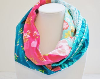 Infinity scarf with flowers of the collection of LUSH from Michael Miller, pink scarf, women, hipster scarf, patchwork scarf, quilt scarf,