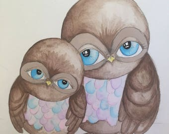Owl painting -Pastel colours