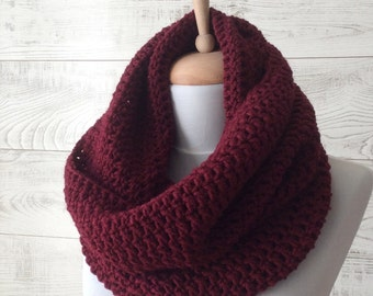 Scarf knit cowl knitted scarf knit infinity scarf maroon wool scarf chunky scarf circle scarf women scarf