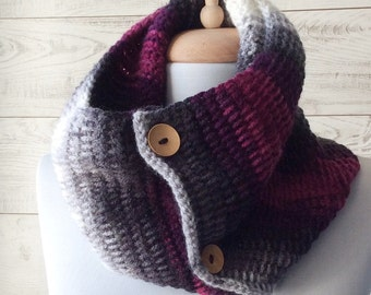 Knit cowl scarf with buttons chunky knit cowl cowl scarf mens scarf gift ideas for her circle scarf, chunky scarf Many Colors FAST DELIVERY