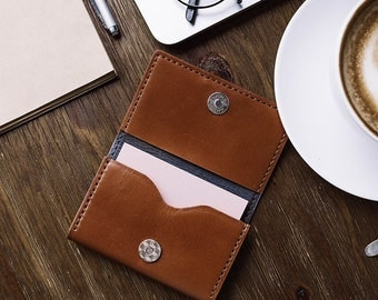 Compact Genuine Leather Card Wallet - 100% Handmade - Premium Quanlity
