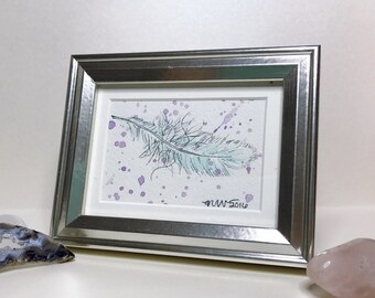 Original Watercolor and Ink Illustration - Floating Feather No. 2
