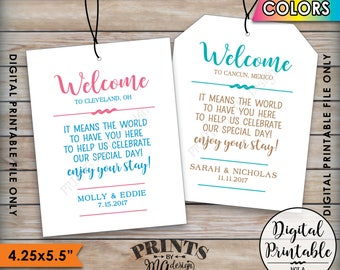 """Wedding Tags, Welcome Bag Tags, Hotel Bag Out of Town Guests, Destination Wedding Thank You Tags, Color 4 tags per 8.5x11"""" Printable File"""