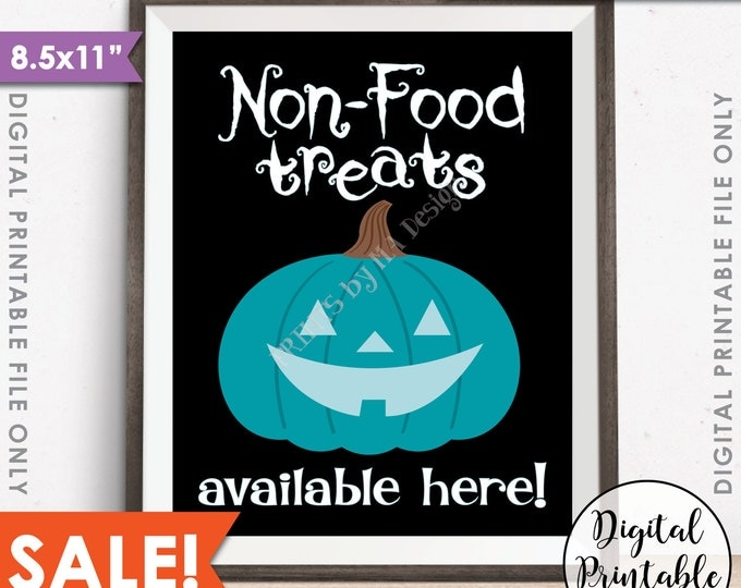 "Teal Pumpkin Sign, Non-Food Treats Available, Teal Halloween, Allergy Safe Treats, Teal Pumpkin Project, 8.5x11"" Instant Download Printable"