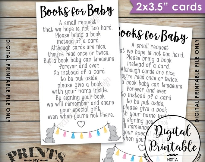 Books for Baby insert, Elephant Baby Shower Book Request, Gender Neutral Baby Shower Book instead of a Card, Instant Download Printable File