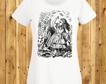 Alice in Wonderland T-Shirt, You're Nothing But A Pack Of Cards, Lewis Carroll Tshirt, John Tenniel Shirt, Wonderland Tee, Flying Cards