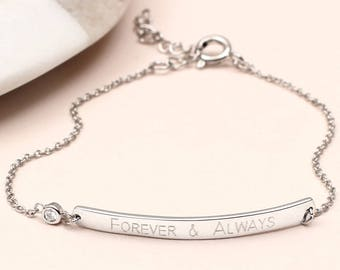 Personalised Sterling Silver And Cz Bar Bracelet