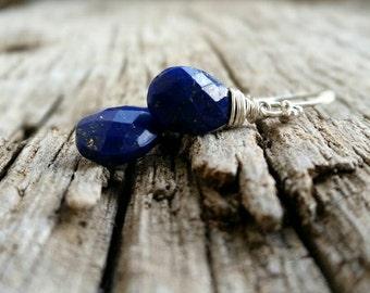 Royal Blue Lapis Lazuli Sterling Silver Earrings, Gemstone Earrings, Wirre Wrapped Lapis Pear Drops Jewelry, December Birhstone