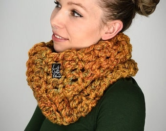 Fatty Snood Melange 24 Mustard / handmade • snood • loop • scarf • yellow • warm • wool • woolen • skate • boho • hippie • lifestyle /
