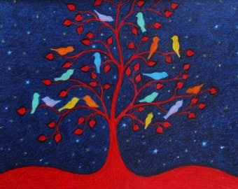 Birds Card, Spiritual Card, Tree of Life Card, Tree Birds, Rainbow Art Card, Sympathy Card, Blank Bird Card, Thank You Card, Red Tree Stars