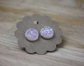 Cabochon earrings silver ice