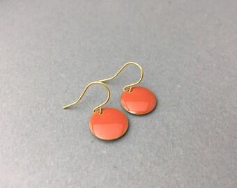 Enameled brass plate earrings peach