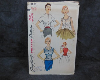 1955 Vintage Simplicity Pattern 1090 Misses' Blouse and Overblouse, Size 20 Bust 38