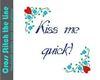 Kiss me quick! Sweet cross stitch sampler. Modern cross stitch design. Contemporary cross stitch pattern.
