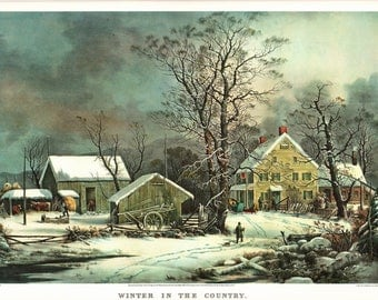 A Large Currier and Ives print of Winter in the Country. The page is approx. 18 3/4 inches wide and 14 inches tall.