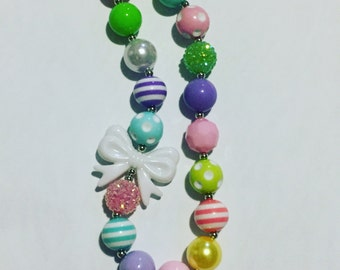 Pastel bow chunky necklace
