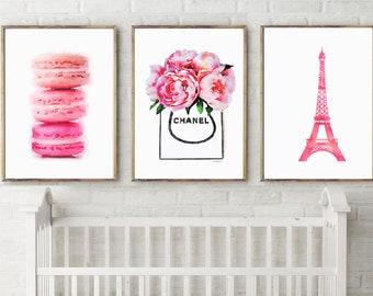 Set of 3 Parisian, french, pink, macaroon, eiffel, peony , Nursery Print, Nursery Art Print, Nursery Wall Art, Baby Room, Kids Wall Print