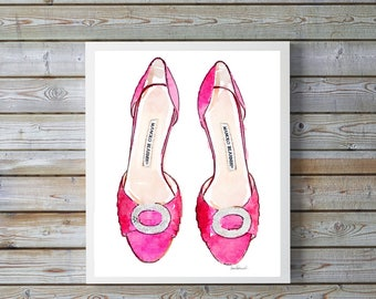 Pink fashion inspired shoes watercolor, fashion illustration, shoe art, bright pink, shoe art, high heels, fashion print, fashion art, gift