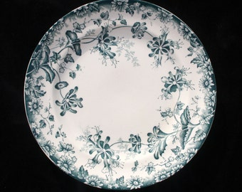Two Antique Victorian Aquamarine Floral dinner plates 9.5 inches