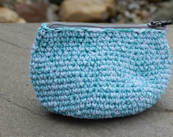 Crocheted Coin Purse; Sturdy Little Pouch; Blue and White Zipper Purse; Handmade by Anna