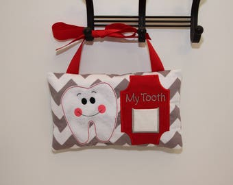 """Tooth Fairy Pillow With Ribbon - Hangs On Door - Front Pocket For Money - Children's Gifts - 10x6"""" - Kids Accessory - Household Item - Kids"""