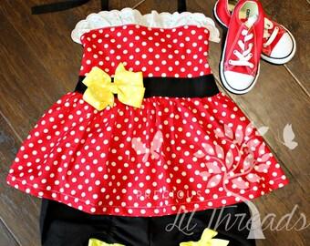 Girls Minnie Inspired Peplum Halter Top Ruched Short Set- Toddler girls Minnie outfit- Baby Girls 0-3m 3-6m 6-12m 18-24m 2t 3t 4t 5 6 7 8
