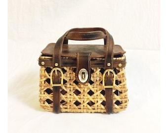Vintage 60's Basket Bucket Purse Handbag