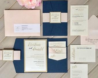 Navy, Blush And Gold Wedding Invitations, Navy And Pale Pink Wedding  Invitations, Navy