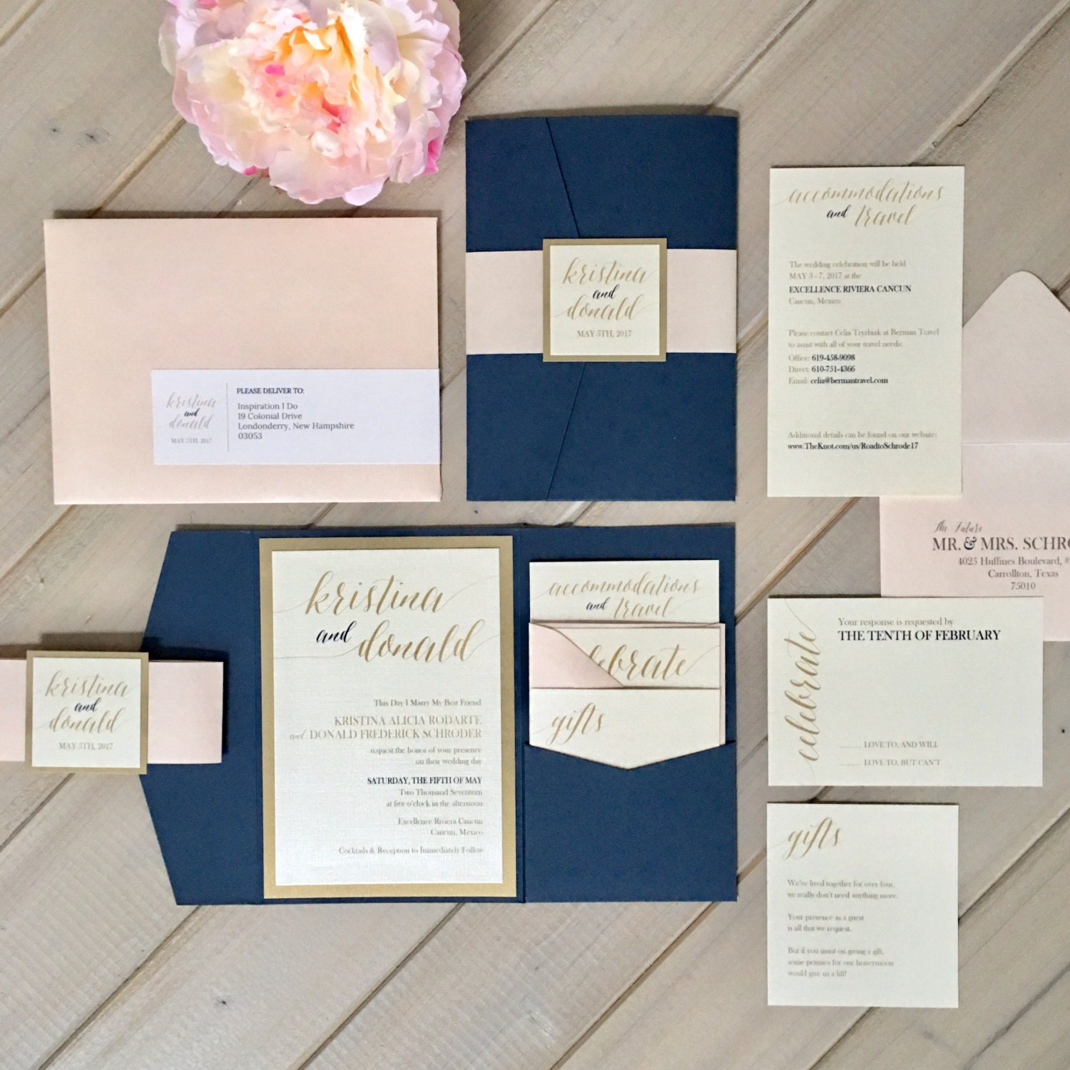 Navy Blush And Gold Wedding Invitations Navy And Pale Pink