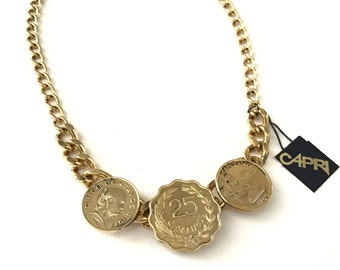 Vintage Gold Tone Coin Necklace by Capri