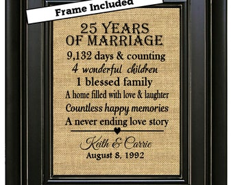 FRAMED 25th Anniversary Gift/25 years of marriage/25th Wedding Anniversary Gift/Anniversary Gift for Parents/Silver Anniversary Gift