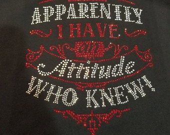 Ladies Rhinestone Attitude Shirts