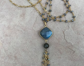 Long Labradorite Gold Tassel Necklace
