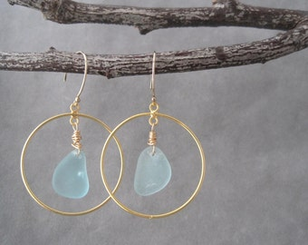 Sea Glass Earrings -Hoop Earrings - Aqua Blue - Beach Glass Hoops - Frosted Sea Glass - Treasure from the Sea - Recycled - Upcycled