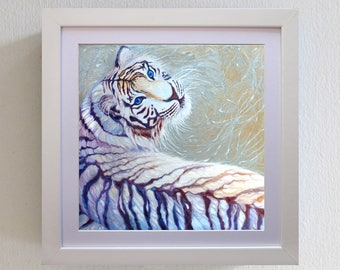 Limited Edition Print - White Tiger with blue eyes