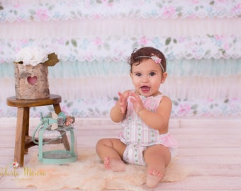 Sitter Romper, Baby romper, Romper, Baby girl romper, Spring, Vintage, Baby girl photo prop, Photo Prop, Pink, Mint, White