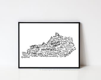 Hand lettered BOWLING GREEN Kentucky Word Art Print // 8x10