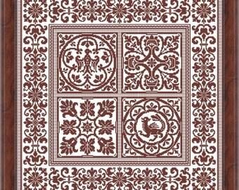 Antique sampler heraldic figure monochrome MARQUOIR PATCHWORK 1 Filet Crochet