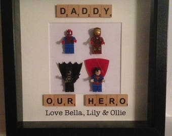 Lego Style - Daddy / Dad Superhero Frame