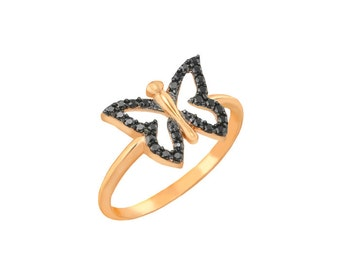 Butterfly Chevalier Ring in 14k solid gold,Thin Gold Ring, Girls Ring,Minimalist Ring,Valentine's Day