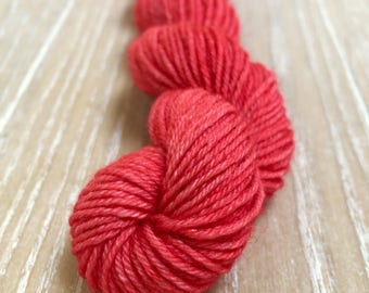 Hand dyed yarn, light red/aubergine, 75/25 Superwashed  Extra Fine merino wool/silk , mini skein 18 gram