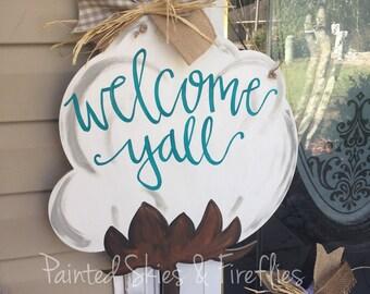 Cotton boll door hanger / spring door hanger / summer / year round home decor / front door decor / decorations / outdoor / porch sign / fall