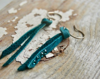 Turquoise Leather Earrings- Boho Spirit Dangle Earrings