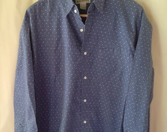 Vintage Banana Republic Oxford Shirt/Men's Large/Royal Blue/100% Cotton/Blue Button Down/Casual Shirt/Preppy/Hipster Shirt/Retro Shirt