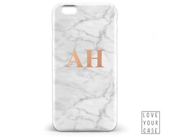 1447 // White Marble Texture Initials Monogrammed Phone Case iPhone 5 5S 6 6S,Samsung Galaxy S5 S6, Samsung Galaxy S7 Edge Plus