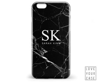 1448 // Black and White Marble Texture Monogrammed Phone Case iPhone 5 5S 6 6S,Samsung Galaxy S5 S6, Samsung Galaxy S7 Edge Plus
